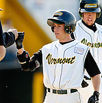 24 April 2007: University of Vermont Catamounts' Bryan Rembisz, a Senior from Clinton, CT, celebrates scoring a run against the Dartmouth College Big Green at Historic Centennial Field, in Burlington, Vermont. The Catamounts defeated the Big Green 11-5...Mandatory Photo Credit: Ed Wolfstein Photo