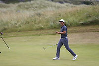 Thorbjorn Olesen (DEN) sinks his putt on the 2nd green during Saturday's Round 3 of the 2018 Dubai Duty Free Irish Open, held at Ballyliffin Golf Club, Ireland. 7th July 2018.<br /> Picture: Eoin Clarke | Golffile<br /> <br /> <br /> All photos usage must carry mandatory copyright credit (&copy; Golffile | Eoin Clarke)