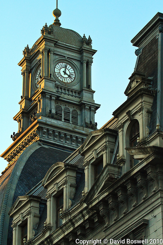 A clock tower in the San Telmo Barrio of Buenos Aires, Argentina.