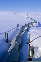 The Trans Alaska oil pipeline stretches across the snow covered tundra of Alaska's Arctic coastal plains, Arctic, Alaska.