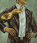 Illustrative image of businessman wearing dollar tie representing money obsession