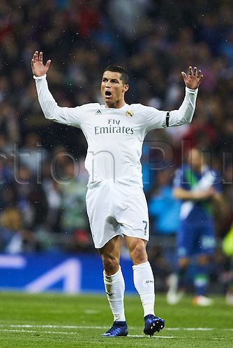 12.04.2016. Madrid, Spain. UEFA Champions League, quarterfinal second leg. Real Madrid versus VfL Wolfsburg.  Cristiano Ronaldo (Real Madrid CF) celebrates scoring for 1-0
