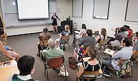 "Erin Van Zanten '17 discusses ""Addressing Community Health in Salta, Argentina: Services of Fundación Equinoterapia del Azul""<br /> Occidental College's Undergraduate Research Center hosts their annual Summer Research Conference on Aug. 4, 2016. Student researchers presented their work as either oral or poster presentations at the final conference. The program lasts 10 weeks and involves independent research in all departments.<br /> (Photo by Marc Campos, Occidental College Photographer)"