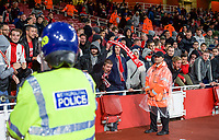 The FC Koln crowd in the stadium with Police and there dogs the UEFA Europa League match between Arsenal and FC Koln at the Emirates Stadium, London, England on 14 September 2017. Photo by Andrew Aleks.