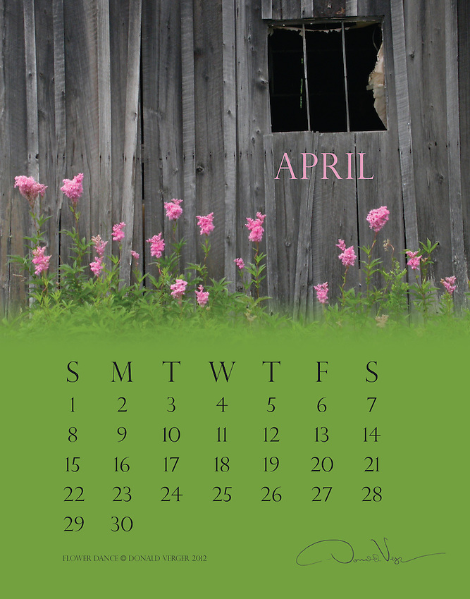 This is Donald Verger's 2012 Flower Calendar.