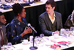 Jelani Alladin, Condola Rashad and Andrew Garfield on stage during the 2018 Drama League Awards at the Marriot Marquis Times Square on May 18, 2018 in New York City.