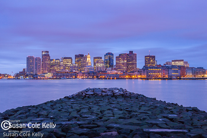 Sunrise on the waterfront of Boston, Massachusetts, USA