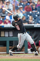 Texas Tech Red Raiders shortstop Josh Jung (16) follows through on his swing during Game 9 of the NCAA College World Series against the Florida State Seminoles on June 19, 2019 at TD Ameritrade Park in Omaha, Nebraska. Texas Tech defeated Florida State State 4-1. (Andrew Woolley/Four Seam Images)