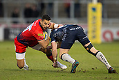 24th March 2018, AJ Bell Stadium, Salford, England; Aviva Premiership rugby, Sale Sharks versus Worcester Warriors; Ben Te'o of Worcester Warriors is tackled by AJ MacGinty of Sale Sharks