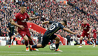 Manchester City's Sergio Aguero goes down in the penalty area under the challenge from Liverpool's Dejan Lovren<br /> <br /> Photographer Rich Linley/CameraSport<br /> <br /> The Premier League - Liverpool v Manchester City - Sunday 7th October 2018 - Anfield - Liverpool<br /> <br /> World Copyright &copy; 2018 CameraSport. All rights reserved. 43 Linden Ave. Countesthorpe. Leicester. England. LE8 5PG - Tel: +44 (0) 116 277 4147 - admin@camerasport.com - www.camerasport.com