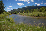 Idaho, Southwest, Garden Valley. The Middle Fork of the Payette River as it flows through Crouch on a late spring day.