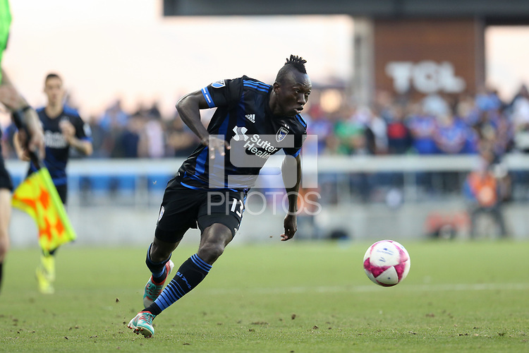 San Jose, CA - Saturday October 13, 2018: Dominic Oduro during a friendly match between the San Jose Earthquakes and Cruz Azul at Avaya Stadium.