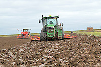 Power harrowing ploughed land ready for drilling winter whet - Lincolnshire, November