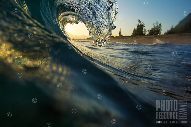 Morning light shines through a small breaking wave in Mokule'ia, O'ahu.