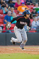 Michael Johnson (5) of the Kannapolis Intimidators hustles down the first base line against the Hickory Crawdads at L.P. Frans Stadium on May 25, 2013 in Hickory, North Carolina.  The Crawdads defeated the Intimidators 14-3.  (Brian Westerholt/Four Seam Images)