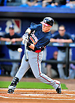 2 March 2010: Atlanta Braves center fielder Nate McLouth in action against the New York Mets during the Opening Day of Grapefruit League play at Tradition Field in Port St. Lucie, Florida. The Mets defeated the Braves 4-2 in Spring Training action. Mandatory Credit: Ed Wolfstein Photo