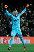 9th January 2018, Mestalla Stadium, Valencia, Spain; Copa del Rey football, round of 16, second leg, Valencia versus Las Palmas; Jaume, goalkeeper for Valencia Cf celebrates their first goal of the game