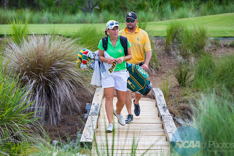 27 May 2015: Baylor University's Laura Lonardi and coach Jay Goble walk the course together during match play with Stanford University. The Stanford University Cardinals defeated the Baylor University Bears 3-2 in Match play at the NCAA Women's Division I Golf Championship at the Concession Golf Club in Bradenton, Florida. Matt Marriott / NCAA Photos
