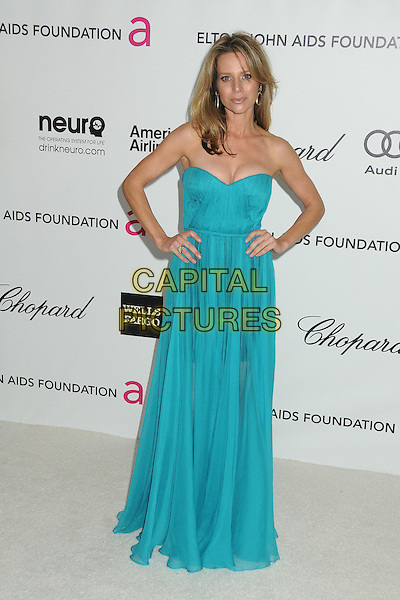 Jessalyn Gilsig.20th Annual Elton John Academy Awards Viewing Party held at West Hollywood Park, West Hollywood, California, USA..February 26th, 2012.oscars full length dress hands on hips blue turquoise strapless   .CAP/ADM/BP.©Byron Purvis/AdMedia/Capital Pictures.