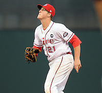 August 25, 2009: Infielder Chris McGuiness (21) of the Greenville Drive, 2009 13th round draft pick of the Boston Red Sox out of The Citadel, in a game at Fluor Field at the West End in Greenville, S.C. Photo by: Tom Priddy/Four Seam Images