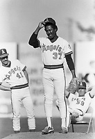 Donnie Moore of the California Angels during a 1988 spring training game in Palm Springs,California.(Larry Goren/Four Seam Images)