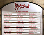 "Lobby cast board for Jake Shears making his  Broadway Debut In ""Kinky Boots"" at the Al Hirschfeld Theatre on January 8, 2018 in New York City."