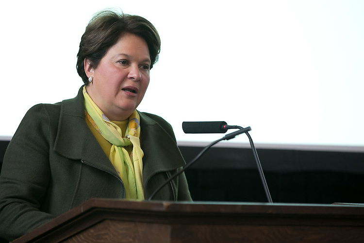 Patricia Maza-Pittsford, consul general of El Salvador and dean of the Consular Corps, thanks the crowd at the end of the 13th Annual Consular Corps Luncheon, Tuesday, April 3, 2018, on DePaul's Lincoln Park Campus. The event brings together members of the international consulate community with university staff and faculty in an effort to promote partnerships and educational programs. (DePaul University/Jamie Moncrief)