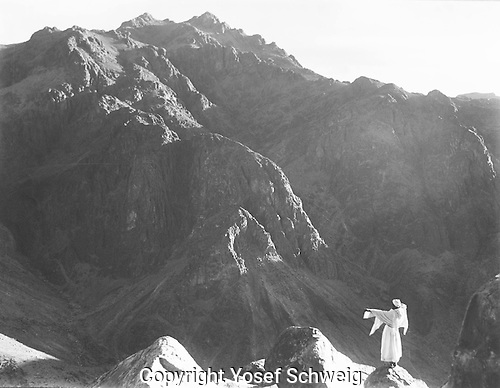 Sinai mountains with scale figure in the foreground