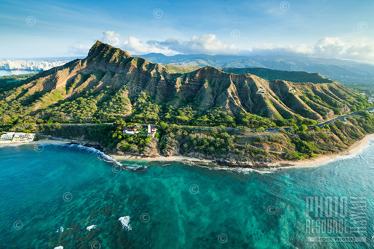An aerial view of Diamond Head and the Gold Coast on a sunny day, East O'ahu.
