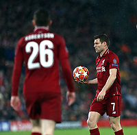 Liverpool's James Milner (right) and Andrew Robertson<br /> <br /> Photographer Rich Linley/CameraSport<br /> <br /> UEFA Champions League Round of 16 First Leg - Liverpool and Bayern Munich - Tuesday 19th February 2019 - Anfield - Liverpool<br />  <br /> World Copyright © 2018 CameraSport. All rights reserved. 43 Linden Ave. Countesthorpe. Leicester. England. LE8 5PG - Tel: +44 (0) 116 277 4147 - admin@camerasport.com - www.camerasport.com