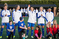 Allston, MA - Sunday, April 24, 2016: Boston Breakers defender Kassey Kallman (5), defender Julie King (8), forward Stephanie McCaffrey (9), midfielder Brittany Ratcliffe (11) and midfielder Kyah Simon (17). The Boston Breakers play Seattle Reign during a regular season NSWL match at Harvard University.