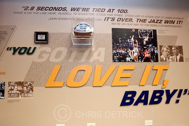 "Photo by Chris Detrick  |  The Salt Lake Tribune.Photos and other memorabilia inside of the newly dedicated ""Hot Rod Hundley Media Center"" at the EnergySolutions Arena Friday, January 29, 2010. Hundley worked for 35 years as the broadcast voice for the Utah Jazz."