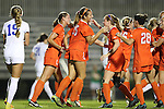27 October 2016: Clemson's Sam Staab (15) celebrates her goal with teammates. The Duke University Blue Devils hosted the Clemson University Tigers at Koskinen Stadium in Durham, North Carolina in a 2016 NCAA Division I Women's Soccer match. Clemson won the game 1-0.