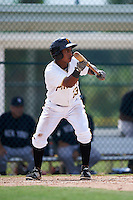 GCL Pirates outfielder Victor Fernandez (23) squares to bunt during the first game of a doubleheader against the GCL Yankees 2 on July 31, 2015 at the Pirate City in Bradenton, Florida.  GCL Pirates defeated the GCL Yankees 2 2-1.  (Mike Janes/Four Seam Images)