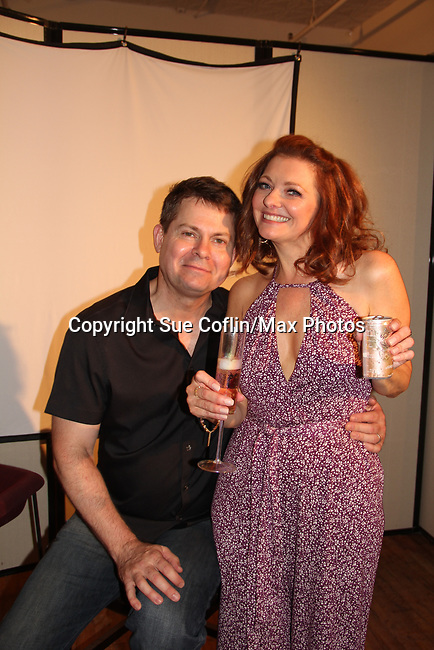 """As The World Turns' Anne Sayre poses with Trent Dawson who wrote """"The F"""" held a Benefit for the film on June 22, 2018 at the Freeman Studio, New York City, New York. (Photo by Sue Coflin/Max Photo)"""