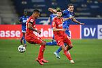 Zweikampf, Duell zwischen Ismail Jakobs (1. FC Koeln), Jonas Hector (1. FC Koeln) und Robert Skov (Hoffenheim).<br /> <br /> Sport: Fussball: 1. Bundesliga: Saison 19/20: 28. Spieltag: TSG 1899 Hoffenheim - 1. FC Koeln, 27.05.2020<br /> <br /> Foto: Markus Gilliar/GES/POOL/PIX-Sportfotos.<br /> <br /> Nur für journalistische Zwecke! Only for editorial use!<br /> <br /> Gemäß den Vorgaben der DFL Deutsche Fußball Liga ist es untersagt, in dem Stadion und/oder vom Spiel angefertigte Fotoaufnahmen in Form von Sequenzbildern und/oder videoähnlichen Fotostrecken zu verwerten bzw. verwerten zu lassen. DFL regulations prohibit any use of photographs as image sequences and/or quasi-video.