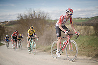 TIm Wellens (BEL/Lotto-Soudal) on the white dust roads of Tuscany<br /> <br /> 13th Strade Bianche 2019 (1.UWT)<br /> One day race from Siena to Siena (184km)<br /> <br /> ©kramon