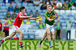 Donchadh O'Sullivan Kerry in action against Jack Murphy Louth in the All Ireland Minor Football Quarter Finals at O'Moore Park, Portlaoise on Saturday.