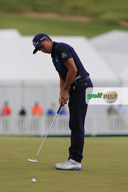 Rickie Fowler (USA) putts on the 8th green during Saturday's Round 3 of the 117th U.S. Open Championship 2017 held at Erin Hills, Erin, Wisconsin, USA. 17th June 2017.<br /> Picture: Eoin Clarke | Golffile<br /> <br /> <br /> All photos usage must carry mandatory copyright credit (&copy; Golffile | Eoin Clarke)