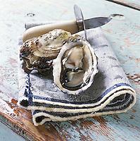 Europe/France/Bretagne/Finistère/Prat ar Coum: les huitres creuses de Prat ar Coum d'Yvon Madec Stylisme Valérie Lhomme  //  France, Finistere, Prat ar Coum, Yvon Madec's Prat ar Coum huitre creuse oysters, hollow oysters,   styling by Valerie Lhomme