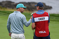 Paul Casey (GBR) sinks his putt on 8 during round 1 of the 2019 US Open, Pebble Beach Golf Links, Monterrey, California, USA. 6/13/2019.<br /> Picture: Golffile | Ken Murray<br /> <br /> All photo usage must carry mandatory copyright credit (© Golffile | Ken Murray)