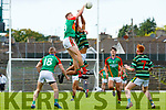 Tomas Ladden Mid Kerry out jumps Stefan Okunbor St Brendans during their County Championship game in Fitzgerald Stadium on Sunday