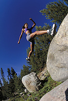 Woman, Women, Scenic, Happiness, Active Lifestyle, Summer, Trail Running, Jogging, Boulders, Sports, Exercise, Training, Fitness, Jumping, Forest, Wilderness, Challenge. Melissa Terhorst (MR 615). Backcountry Colorado United States Rocky Mountains, Summit