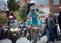 Liege-Bastogne-Liege 2012.98th edition..Maxim Iglinskiy on Cote de Saint-Nicolas catching up on leader Nibali
