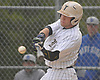 Pat Willix #42, Wantagh first baseman, tries to pull a pitch during the bottom of the third inning of a Nassau County varsity baseball game against Division Avenue at Wantagh High School on Thursday, May 4, 2017. Wantagh won by a score of 7-6.