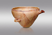 "Minoan clay vessel from ""West Court House""  Knossos 2600-2400 BC BC, Heraklion Archaeological  Museum, grey background."