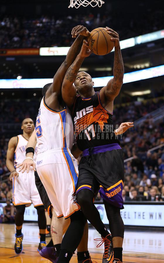 Feb. 10, 2013; Phoenix, AZ, USA: Phoenix Suns shooting guard P.J. Tucker against the Oklahoma City Thunder at the US Airways Center. Mandatory Credit: Mark J. Rebilas-