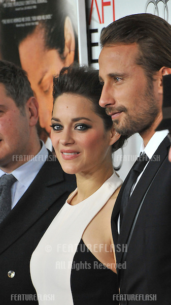 "Marion Cotillard & Matthias Schoenaerts at the AFI Fest 2012 premiere of their movie ""Rust and Bone"" at Grauman's Chinese Theatre, Hollywood..November 5, 2012  Los Angeles, CA.Picture: Paul Smith / Featureflash"