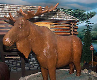 The world's only life-size chocolate moose is made of 1,700 pounds of milk chocolate in Scarborough Maine.