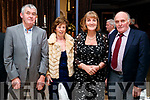 Brendan and Laura O'Regan with Eileen and John Joe Sugrue, Tralee, enjoying the the Kerry Supporters Social at Ballygarry House Hotel and Spa, Tralee, on Saturday night last.